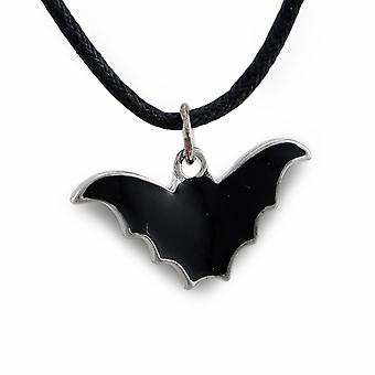 Black Enamel Bat Pendant On Adjustable Slider Cord Necklace