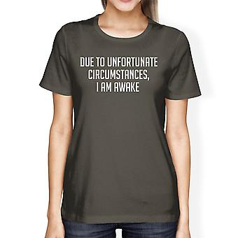 Unfortunate Circumstances Womens Cool Grey Tees Typographic Tee