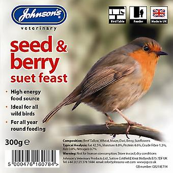 Wild Bird Suet Tray Seed & Berry 300g (Pack of 8)