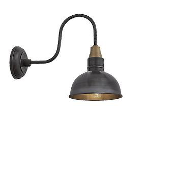 Brooklyn Vintage Swan Neck Wall Sconce - Dome - Dark Pewter - 8 inch