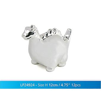 Silver Plated Dinosaur Money Box Coin Cash Piggy Bank Baby Novelty Gift