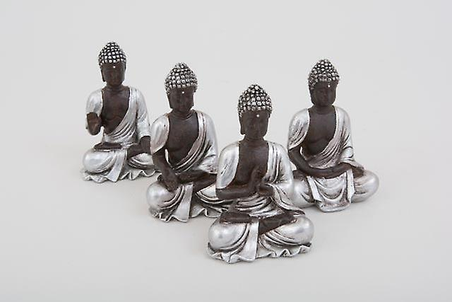 Set of 4 Sitting Thai Buddha Silver Figurines Home Decorative Ornament