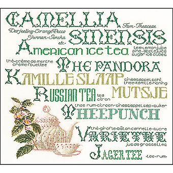 Tea Sampler On Aida Counted Cross Stitch Kit-15.25