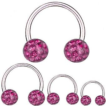 Circular Barbell Horseshoe Titanium 1,6 mm, Multi Crystal Ball Pink | 8 - 16 mm