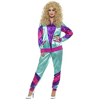 80s tracksuit jogging suit with balloon silk look ladies costume