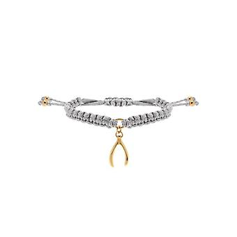 W.A.T Grey Grant A Wish Gold Plated Friendship Bracelet By Heart U Back