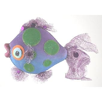 Púrpura aletas Tropical pescado azul náutico playa vacaciones de Navidad del árbol de ornamento