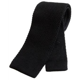 Tyler and Tyler Plain Knitted Wool Tie - Black
