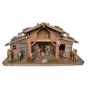 Crib Nativity scene wood Nativity stable John hand work for characters up to 12 cm