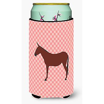 Hinny Horse Donkey Pink Check Tall Boy Beverage Insulator Hugger