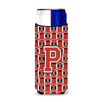 Letter P Football Scarlet and Grey Ultra Beverage Insulators for slim cans