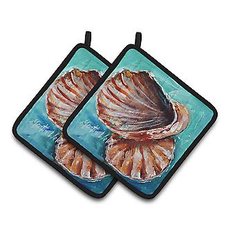 Carolines Treasures  MW1147PTHD Shells not in a row Pair of Pot Holders