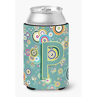 Letter P Circle Circle Teal Initial Alphabet Can or Bottle Hugger