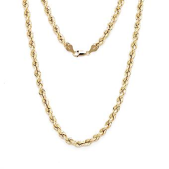 Floreo 10k Yellow Gold Hollow Rope Chain Bracelet and Anklet, 6mm