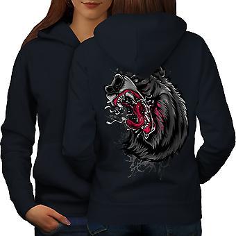 Angry Beast Angry Women NavyHoodie Back | Wellcoda