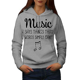 Music Speaks More Women GreyHoodie | Wellcoda