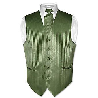 Men's Dress Vest & NeckTie Vertical Striped Design Set