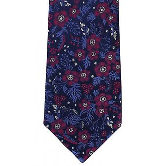 Michelsons of London Classic Floral Silk Tie - Navy/Magenta