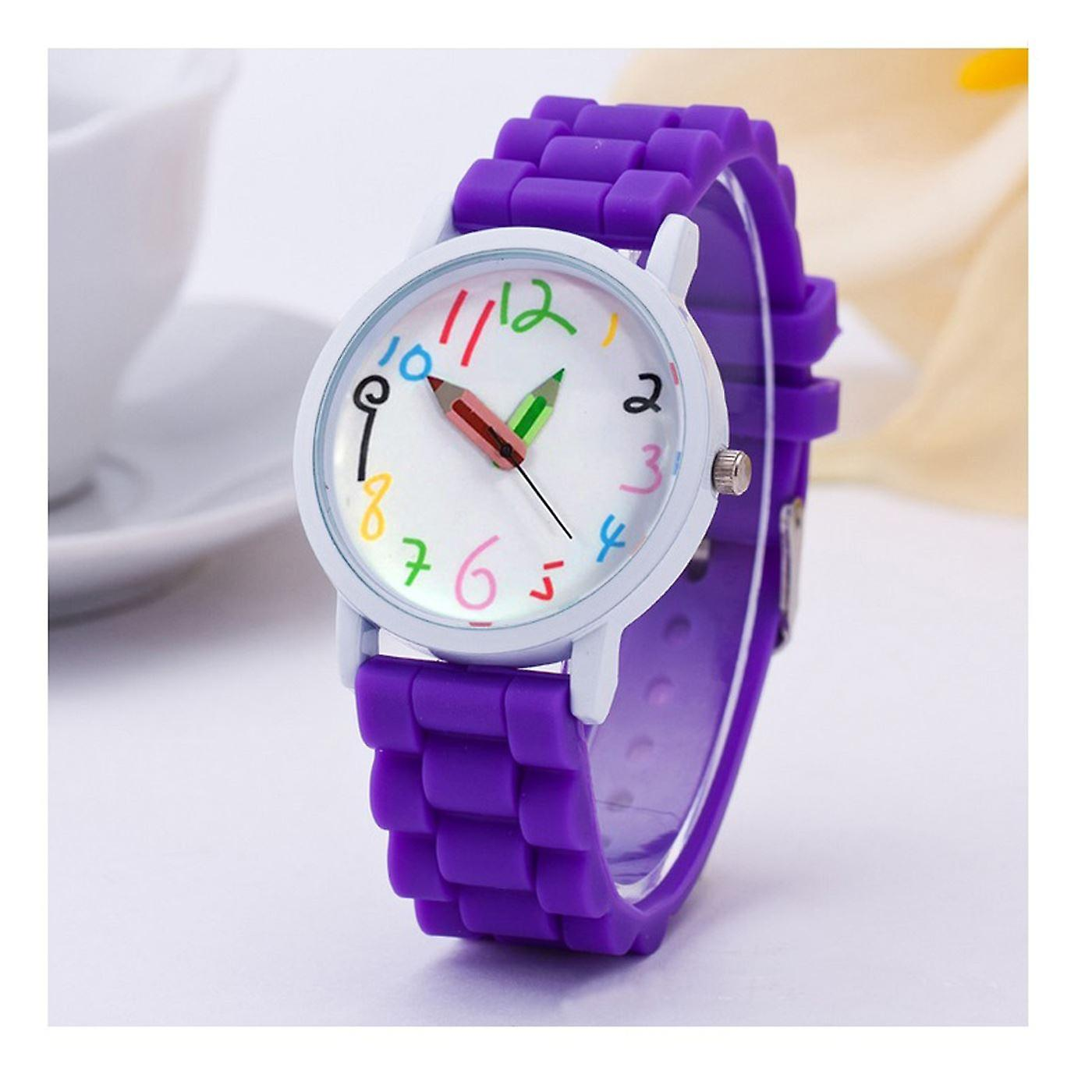 First Kids Childrens Watch Crayon Paint Colour Pencil Purple Help Tell Time