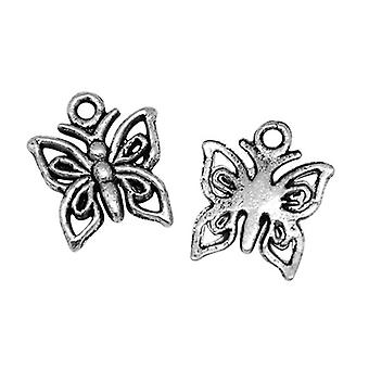 Packet 30 x Antique Silver Tibetan 15mm Butterfly Charm/Pendant HA08425