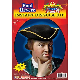 Paul Revere Patriot American Revolution Colonial Mens Costume Wig Hat Kit