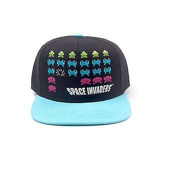 Bioworld Space Invaders Formation Black/Turquoise Baseball Cap Blue One Size