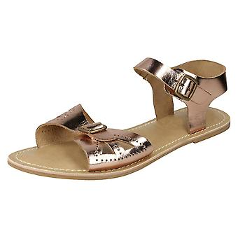 Ladies Leather Collection Flat Buckle Sandals F00148 - Rose Gold Leather - UK Size 8 - EU Size 41 - US Size 10
