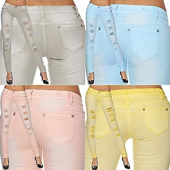 Ladies Slim Jeans Pants Skinny Stretch Tube Destroyed