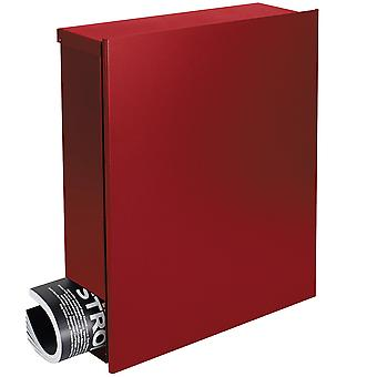 Design mailbox with newspaper box Ruby Red (RAL 3003) MOCAVI box 111 wall letter box 12 litres