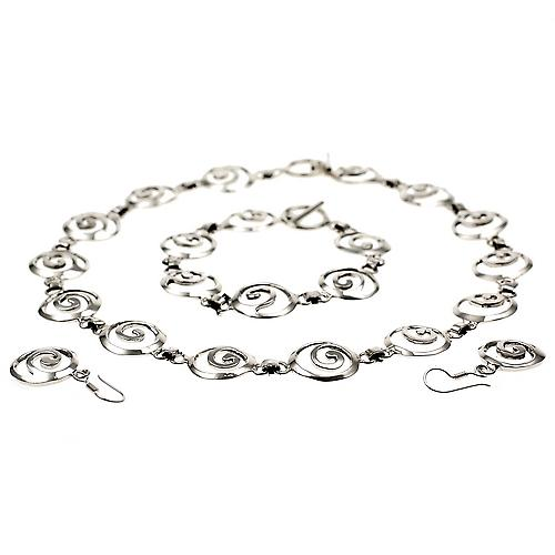 Swirling Silver Necklace Earrings Set