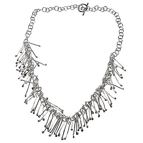 Fringe Silver Charm Necklace
