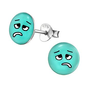 Sick Face - 925 Sterling Silver Colourful Ear Studs