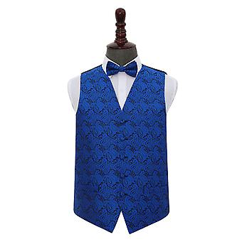 Royal Blue Paisley bruiloft gilet & strikje Set