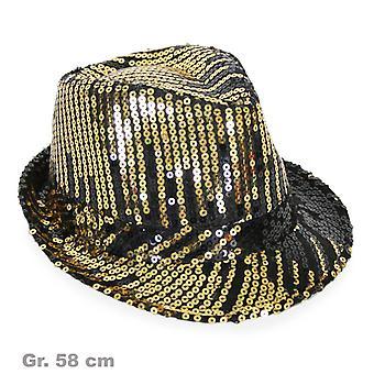 スパンコール帽子黒とゴールドの光沢のある帽子スパンコール帽子