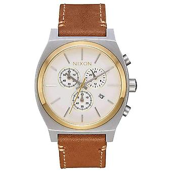 Nixon The Time Teller Chrono Leather Watch - Brown/Silver/Gold