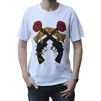 Amplified Guns N' Roses Shooting Roses White Crew Neck T-Shirt XXL