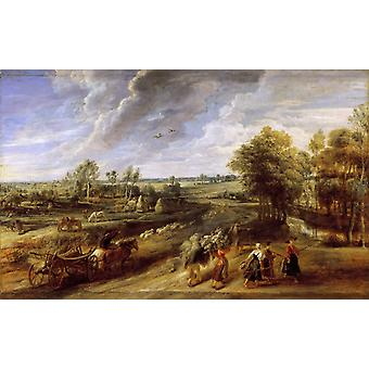 Return of the Peasants from the Fields,Peter Paul Rubens,60x40cm