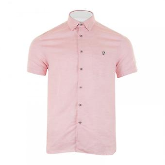 Ted Baker Mens Peeze Two Tone Linen Shirt (Coral)