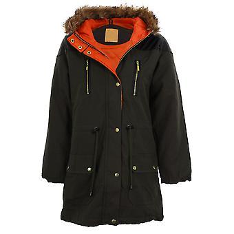 Damen Khaki gesteppte Kontrast PVC Mantel Fischschwanz Pelz Kapuzen Parka Damenjacke