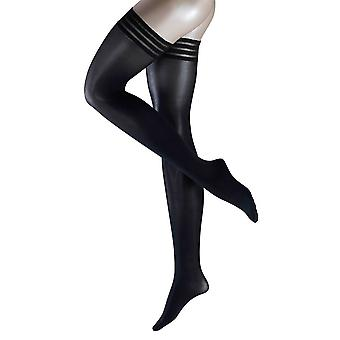 Falke Pure Matte 50 Denier Semi-Opaque Matte Stay Up Stockings - Black