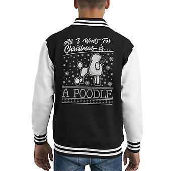 All I Want For Christmas è Varsity Jacket un barboncino Knit Pattern capretto