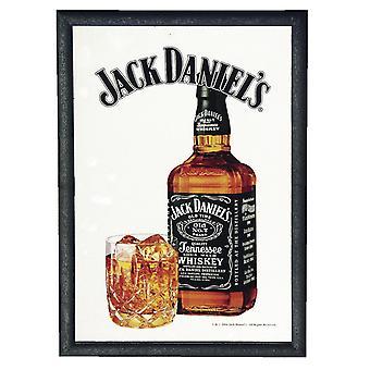 Jack Daniel espejo de cristal y botella - espejo de pared con madera de la estructura de plástico negro.