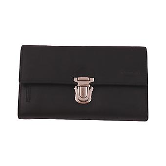 Taxibörs with many compartments in calfskin, black