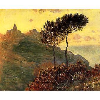 ヴァランジュヴィル、灰色の天気、クロード ・ モネ、50x40cm 教会