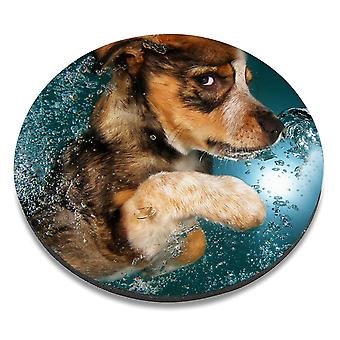 i-Tronixs - Underwater Dog Printed Design Non-Slip Round Mouse Mat for Office / Home / Gaming - 12