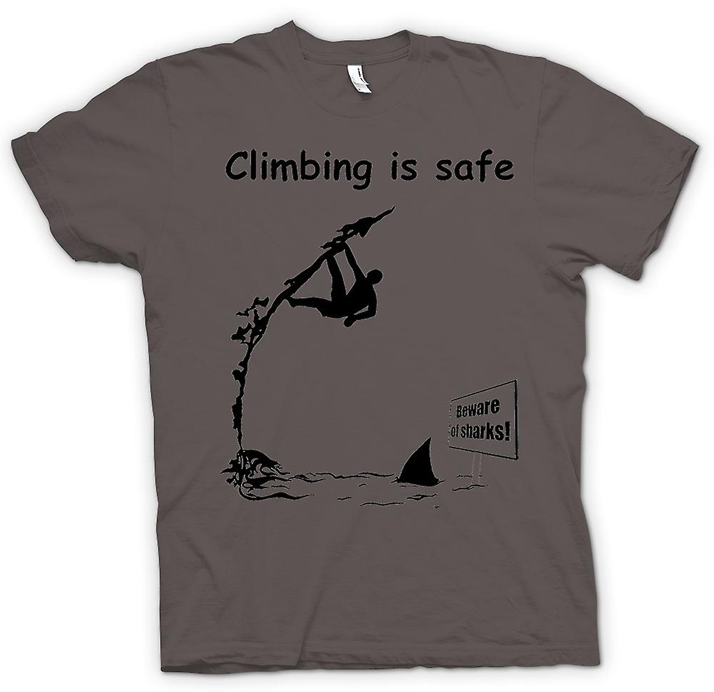 Mens T-shirt - Climbing Is Safe - Beware Of The Sharks