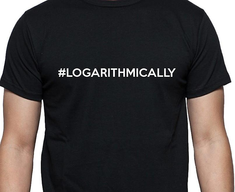 #Logarithmically Hashag Logarithmically Black Hand Printed T shirt