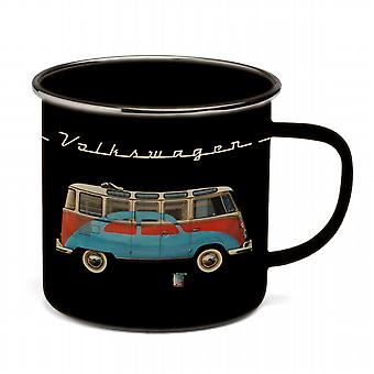 Official VW Camper Van + VW Beetle Enamel Tin Mug - Black