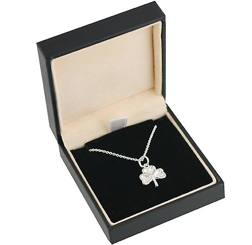 Silver 13x13mm plain Shamrock Pendant with a rolo Chain 14 inches Only Suitable for Children