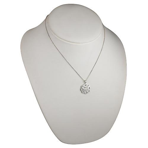 Silver 20mm round Celtic Pendant with a curb Chain 18 inches